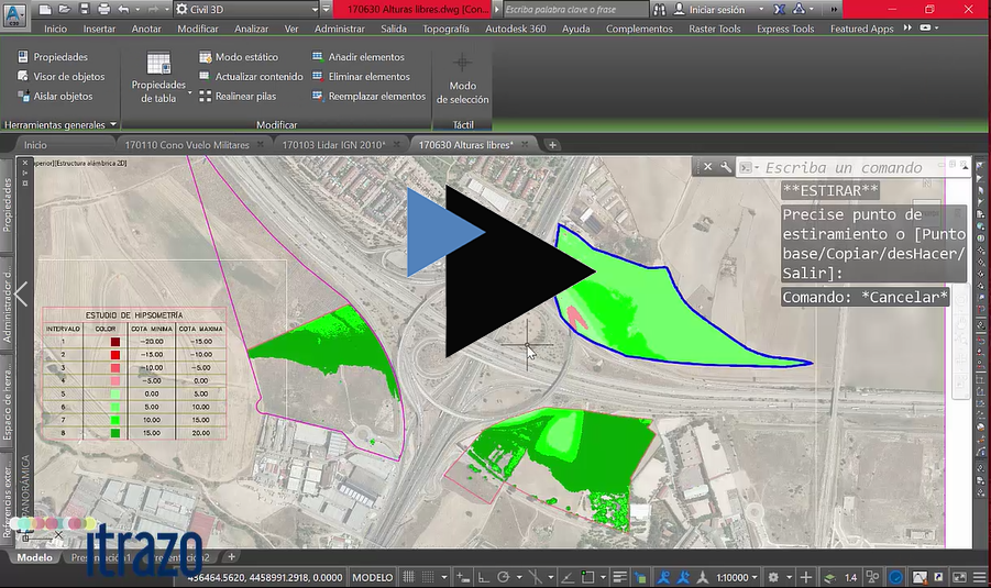 Nuevo vídeo gratuito del mes: Cálculo de las alturas libres de unas parcelas desde el terreno actual al Cono de vuelo de un aeropuerto.<br />www.itrazo.com/recursos/vídeo-del-mes.html